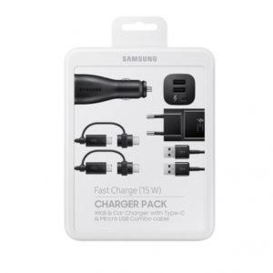 Samsung EP-U3100WBEGWW - Pack De Charge Complet, Adaptateur Secteur/Voiture, Câble Micro USB/USB-C