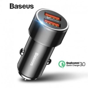 Baseus Chargeur allume-cigare Double USB Quick Charge 4.0 3.0 - Noir