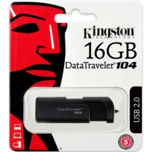 CLE USB 2.0 16 GIGA KINGSTON DATATRAVELER 104 NOIR